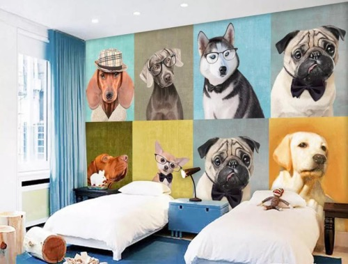3D Colored Realistic dog Wallpaper Removable Self Adhesive Wallpaper6 Fotor